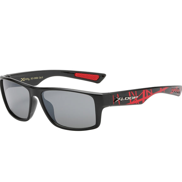 Splash Print Polycarbonate Wrap kids Sunglasses - Red
