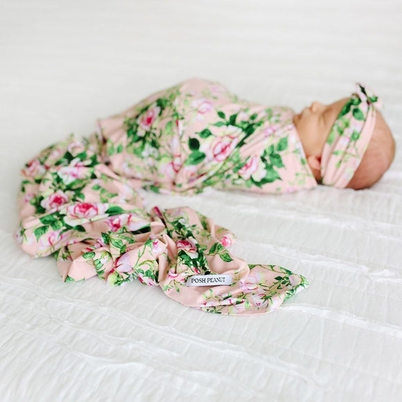 Posh Peanut - Renia - Infant Swaddle and Headwrap Set