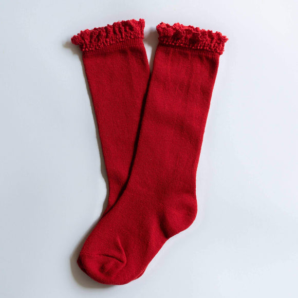 Little Stocking Co. - True Red Lace Top Knee Highs