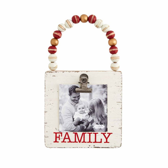 Mud Pie Family Wood Bead Photo Ornament