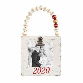 Mud Pie 2020 Wood Bead Photo Ornament