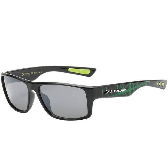 Splash Print Polycarbonate Wrap kids Sunglasses - Green