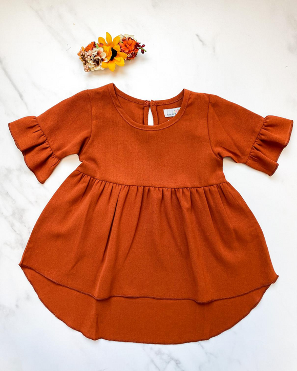 Spencer Ruffle Sleeve High-Low Dress - Cornucopia Orange