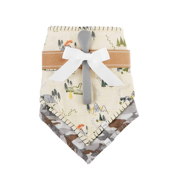 MUD PIE MUSLIN CAMO BIBS AND SPOON SET