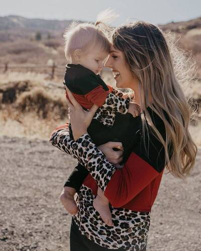 Coco Mommy & Me Long Sleeve Color Block Leopard Tee