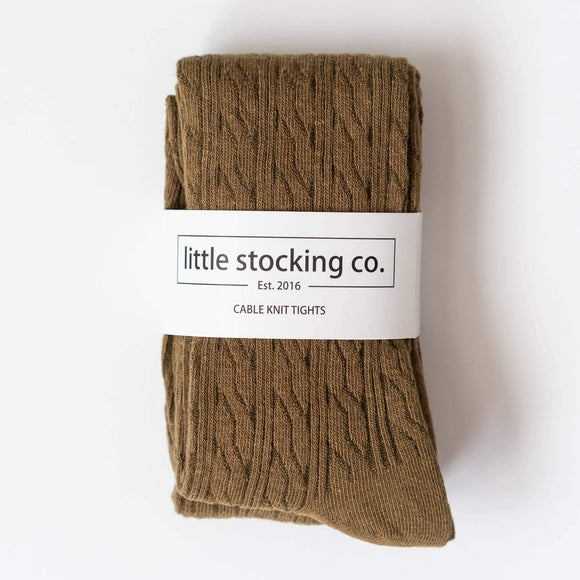 Little Stocking Co. - Olive Green Cable Knit Tights