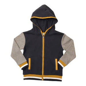 Bear Camp Zip Up Hoodie with Contrast Stripe Cuffs