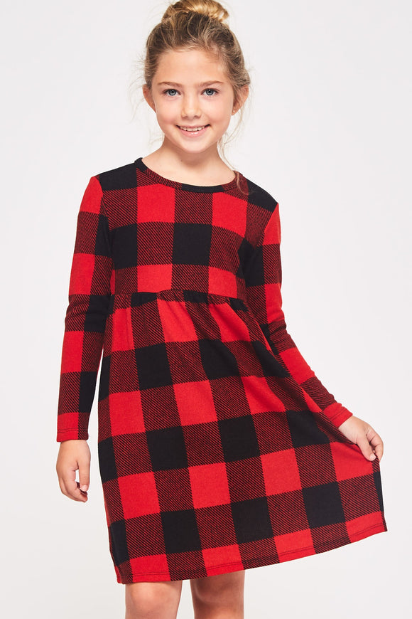 Brushed Buffalo plaid Babydoll Dress - Red/Black