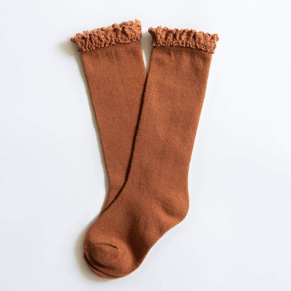 Little Stocking Co. - Sugar Almond Lace Top Knee Highs