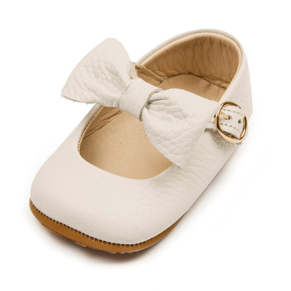Baby Girls Mary Jane Flat Anti-Slip Rubber Sole Shoe - Beige
