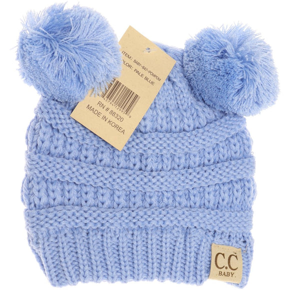 BABY Solid Double Pom CC Beanie - Pale Blue
