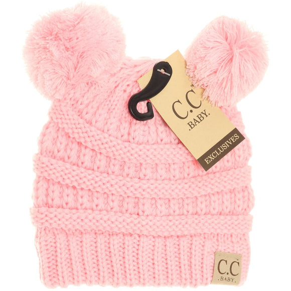 BABY Solid Double Pom CC Beanie - Pale Pink