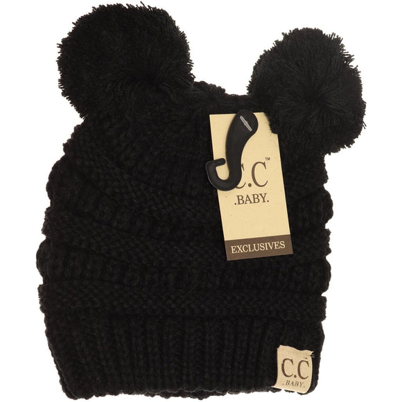 BABY Solid Double Pom CC Beanie - Black