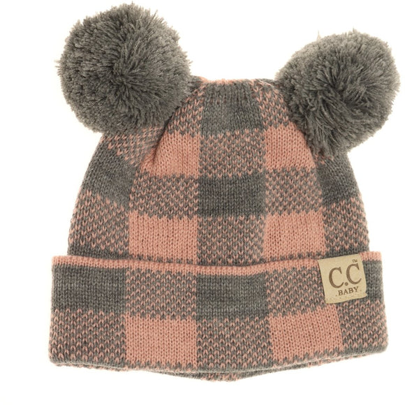 BABY Buffalo Plaid Pom Pom Beanie- Light Gray/Indie Pink