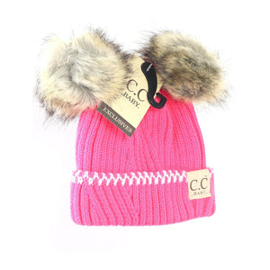 BABY Solid Knit Double Fur Pom Beanie - New Candy Pink/Ivory