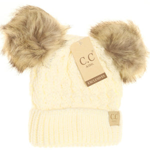 KIDS Cable Knit Double Fur Pom Beanie - Ivory
