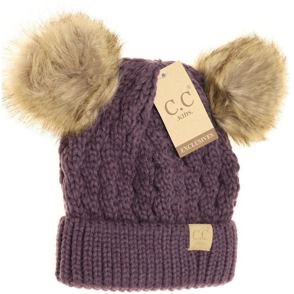 KIDS Cable Knit Double Fur Pom Beanie - Violet