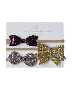 Holiday Glitter Bow Headband Variety Pack
