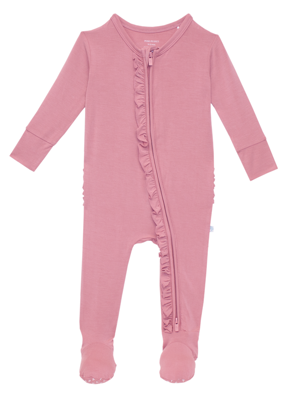 Posh Peanut - Solid Color - Dusty Rose - Footie Ruffled Zippered One Piece
