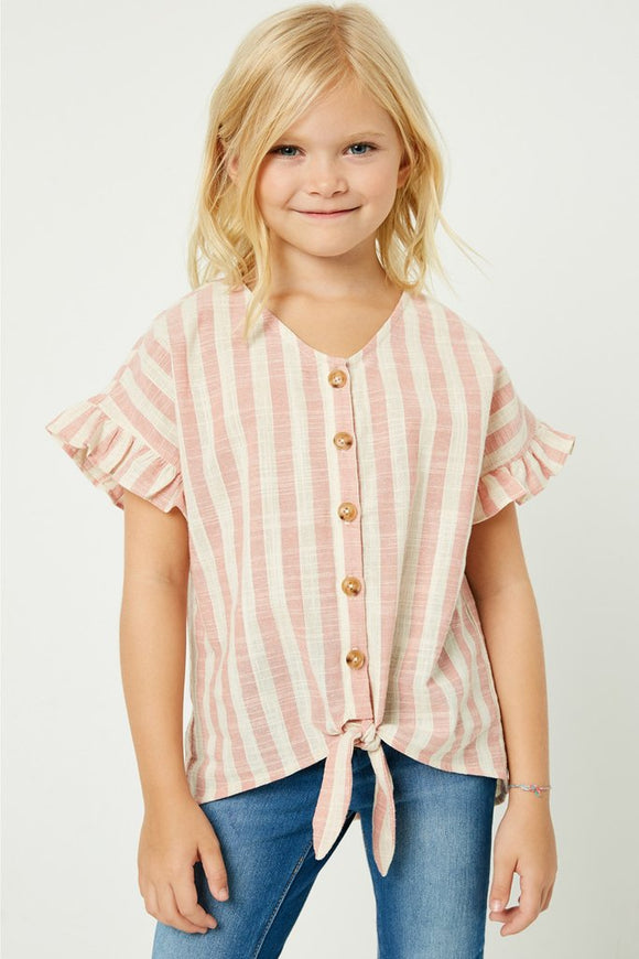 Hayden Girl Stripe Linen Button-Down Top