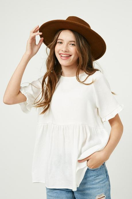 Hayden Girl Small Details White Ruffle Sleeve Peplum Top