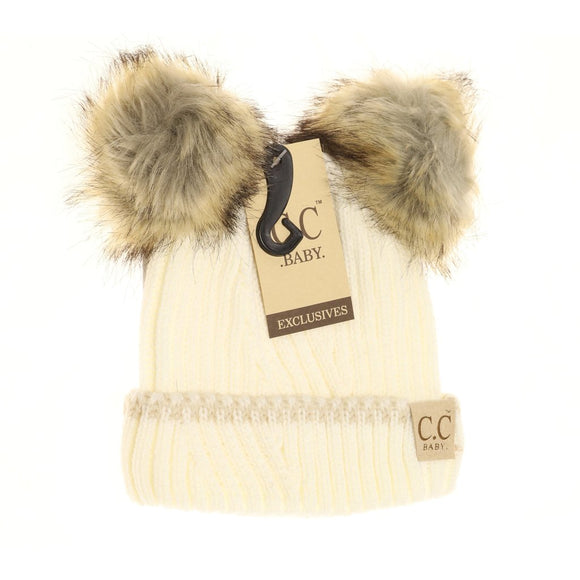 BABY Solid Knit Double Fur Pom Beanie - Ivory/Beige