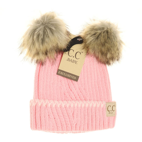 BABY Solid Knit Double Fur Pom Beanie - Pale Pink/Ivory