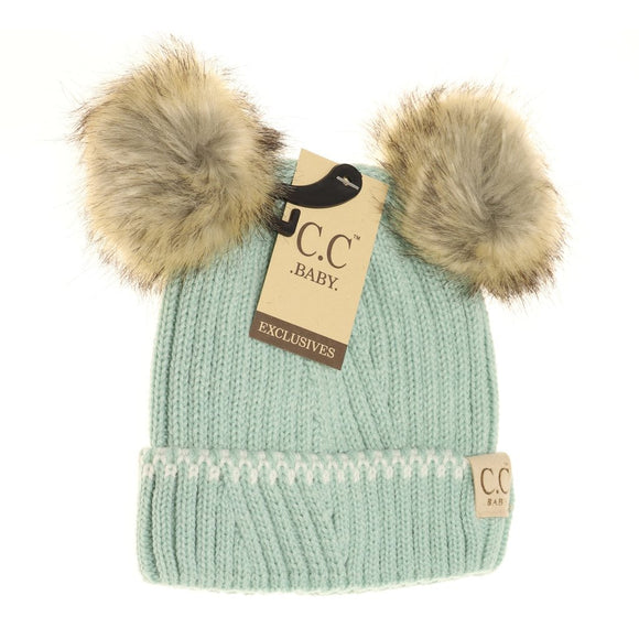 BABY Solid Knit Double Fur Pom Beanie - Mint/Ivory