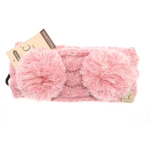 KIDS Multi-tone Double Pom Head Wrap - Rose Pink