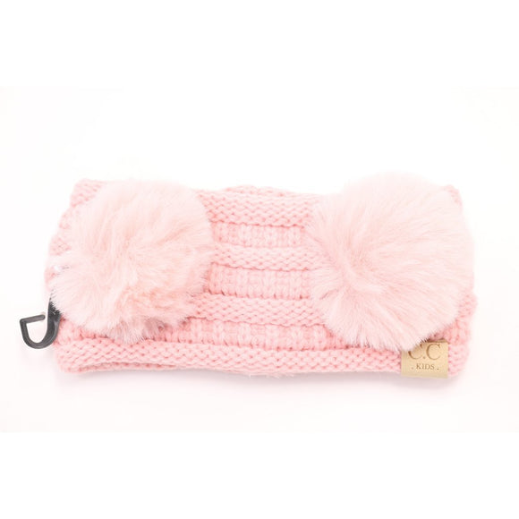 Kids Faux Fur Double Pom CC Headwrap - Pale Pink