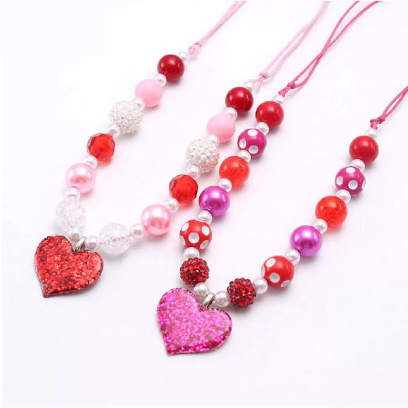 Heart Pendant Chunky Bead Necklace