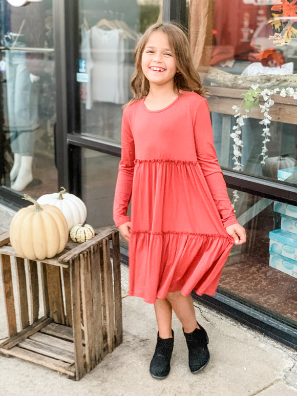 Girls Solid Tunic Dress - Marsala