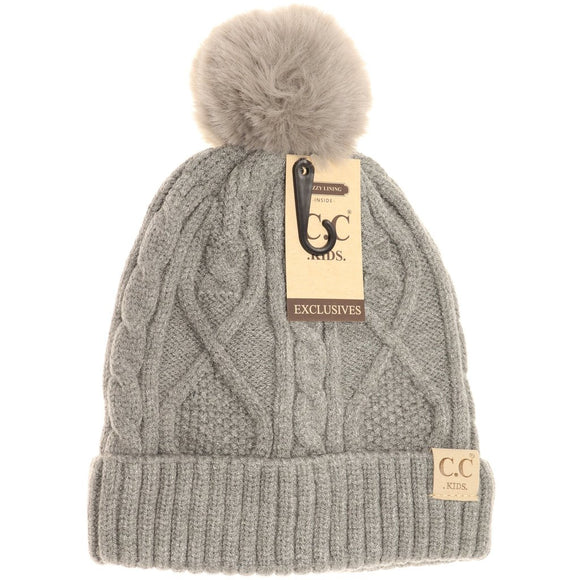 Kids Matching Fur Pom- Light Gray