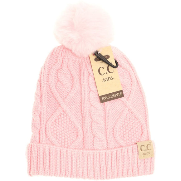 Kids Matching Fur Pom- Pale Pink