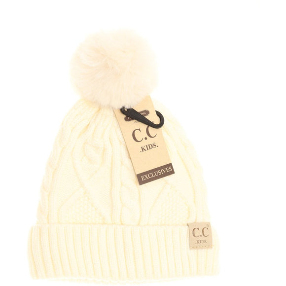 Kids Matching Fur Pom- Ivory
