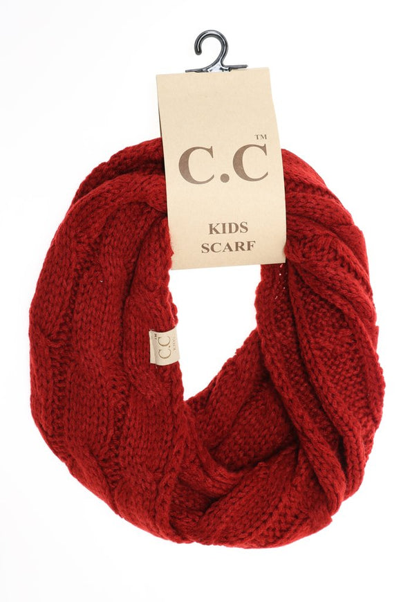 KIDS Solid Cable Knit CC Infinity Scarf