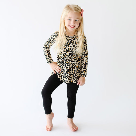 Posh Peanut - Lana Leopard Tan - Long Sleeve Basic Peplum Top & Legging Set