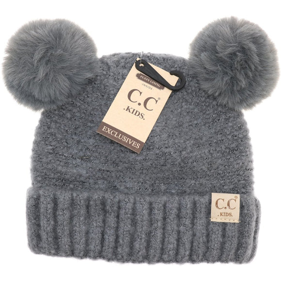 Kids Solid Double Fur Pom - Light Gray
