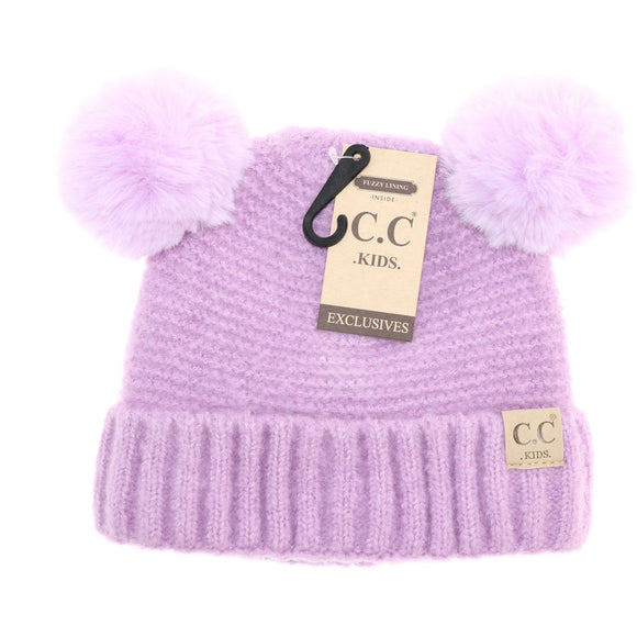 Kids Solid Double Fur Pom - Lilac