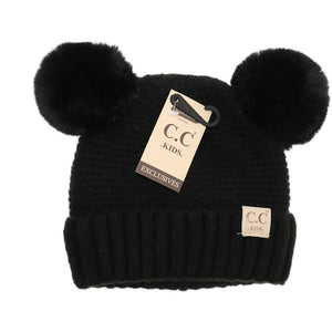 Kids Solid Double Fur Pom - Black