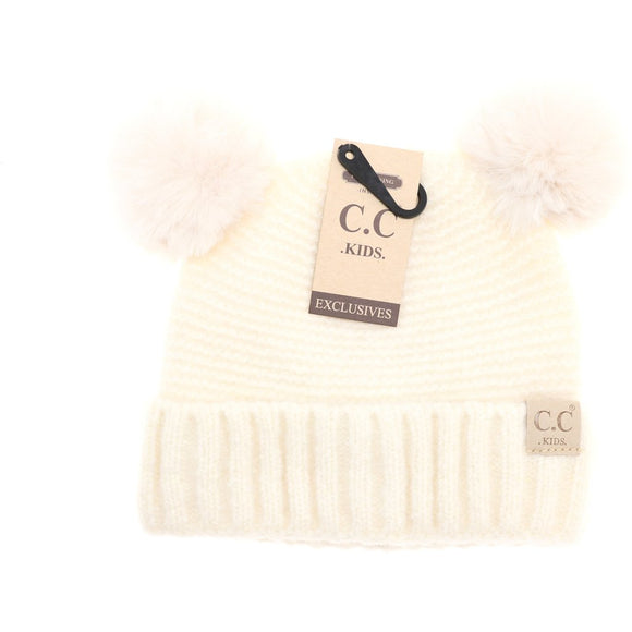 Kids Solid Double Fur Pom - Ivory