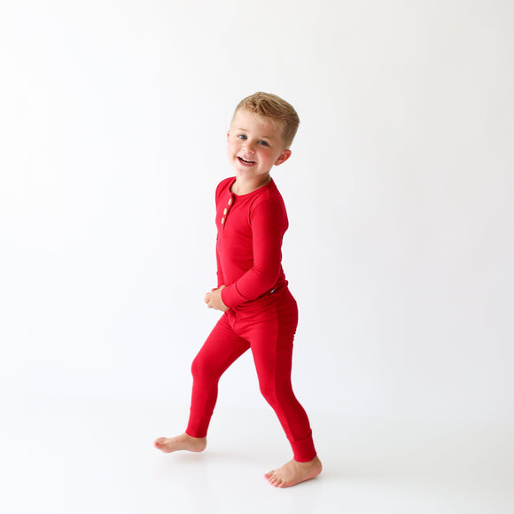 Posh Peanut - Solid Ribbed - Crimson - Long Sleeve Henley Loungewear