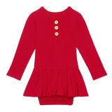 Posh Peanut - Solid Ribbed - Crimson - Long Sleeve Henley with Twirl Skirt Bodysuit
