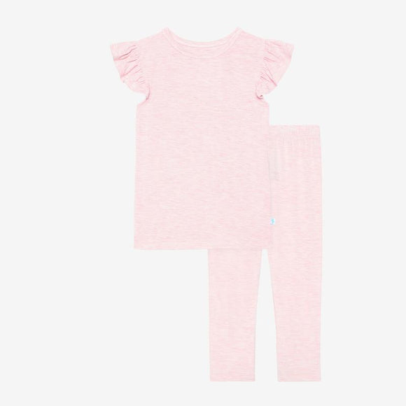 Posh Peanut - Pink Heather Ruffled Cap Sleeve Pajamas