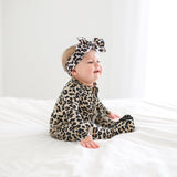 Posh Peanut - Lana Leopard Footie Ruffled Zippered One Piece