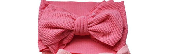 MILA MESSY BOW HEADBAND - PINK PASSION - DARK CORAL