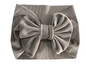 Velvet Headband Bow - Gray