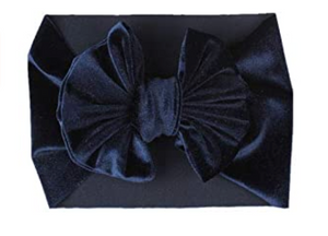 Velvet Headband Bow - Navy