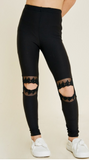 Lace Cut-Out Brushed Legging
