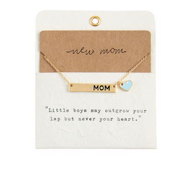 Blue New Mom Necklace by Mudpie
